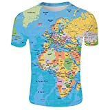 Men's T-Shirts Casual Short Sleeve Crew Neck Tee 3D World Map Printed Novelty T-Shirts Tops
