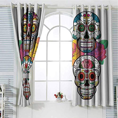 hengshu Sugar Skull Decor Sliding Door Curtains for Living Room Different Types of Skulls Rich Colorful Ornaments Roses Border Carnival Room Darkening Curtains Room Decor W52 x L84 Inch Multicolor
