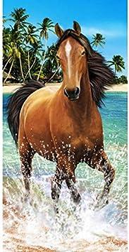 Telo mare cavallo nero e bianco asciugamano spugna velluto Imprimee 75/x 150/cm