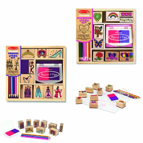 Scrap Pad Kit (Melissa & Doug Wooden Stamps, Set of 2 - Princess and Friendship, With 18 Stamps, 10 Colored Pencils, and 2 Stamp Pads)