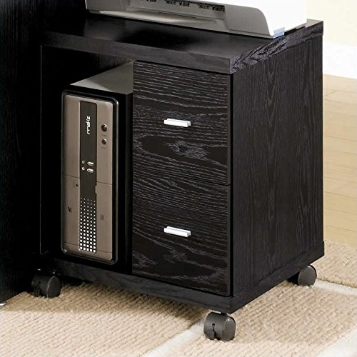 Coaster Contemporary Black Oak Peel 2 Drawer Computer Stand