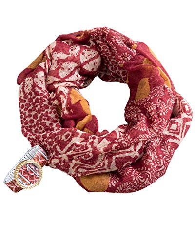 Renshun Accessories Infinity Scarf With Watch Set, Wine
