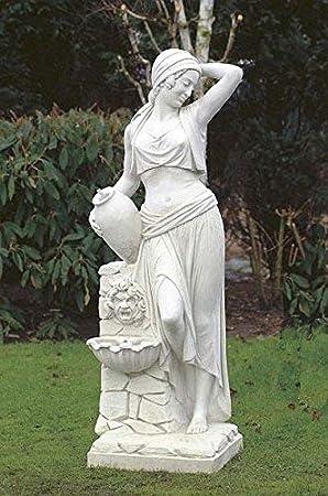 pompidu-living Mujer con Fuente de Pared, H 173, Figuras Piedra, Figura de Jardín - Piedra Arenisca: Amazon.es: Jardín