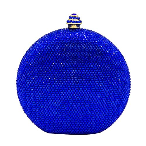 Royal Blue Round Circular Crystal Clutch Evening Bag Mini Metal Minaudiere Clutches Wedding Party Bridal ()
