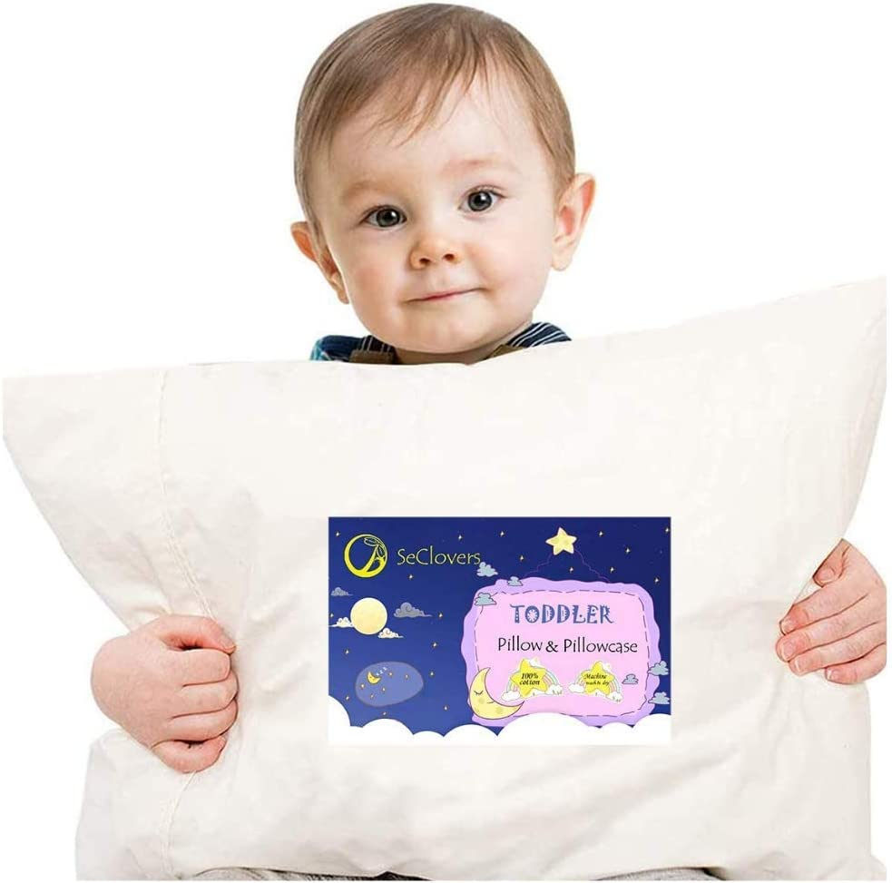 Pack of 2 Hypoallergenic Toddler Travel Pillow with Pillowcase 100/% Woven Cotton Case Fits Toddler Bed//Crib//Cot Machine Washable Kids Pillows for Sleeping Napping Child Size 13x18 White