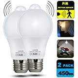 #8: Motion Sensor Light Bulb 5W Smart LED Bulbs PIR Detector Lamp Dusk to Dawn Night lights E26 Base Indoor Outdoor Light Bulbs Soft White 2700K for Wall Lighting Garage Porch Stairs Hallway Pack of 2