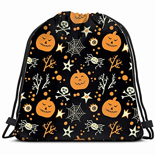Happy Halloween Pumpkins Skulls The Arts Abstract Drawstring Backpack Gym Sack Lightweight Bag Water Resistant Gym Backpack For Women&Men For Sports,Travelling,Hiking,Camping,Shopping Yoga -