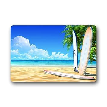 Tablas de surf playa de arena Palmeras olas del mar azul cielo Nubes personalizado Felpudo (23.6 x15.7 (): Amazon.es: Jardín