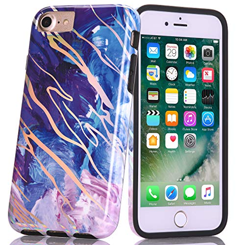 BAISRKE Shiny Laser Style Blue Marble Design Bumper TPU Soft Rubber Silicone Cover Phone Case Compatible with iPhone 7 / iPhone 8 / iPhone 6 6s [4.7 inch]