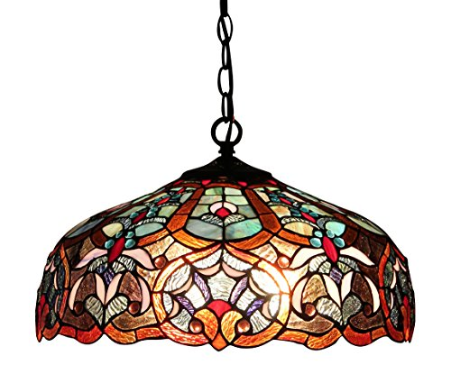(Chloe Lighting CH33473BV18-DH2 Sadie, Tiffany-Style Victorian 2-Light Ceiling Pendant Fixture, 18-Inch, Multi-Colored)
