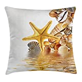 Ambesonne Seashells Throw Pillow Cushion Cover, Shells and Starfish Reflection Water Golden Yellow Spa Clear Beach Theme, Decorative Square Accent Pillow Case, 18 X 18 Inches, Earth Yellow Cream
