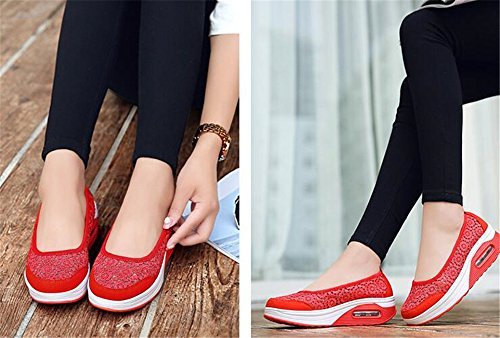 Wedges Heel High Red IINFINE Lightweight Walking Shoes Platform Women's Sneakers Fitness EgZpgq