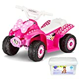 Disney Minnie Mouse 6 Volt Battery Powered ATV Wheels Ride On Quad Toy for Toddler Girls, Pink with Baby Wipes