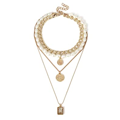 1ba511f39e Image Unavailable. Image not available for. Color: bjduck99 Women Vintage Faux  Pearl Multi Layered Coin Pendant Chain Necklace ...