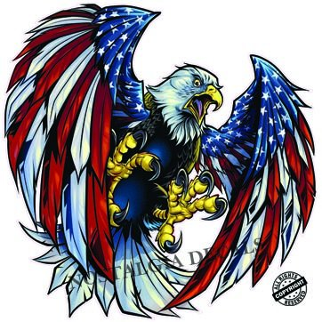 Screaming american flag bald eagle wings 3 small decal