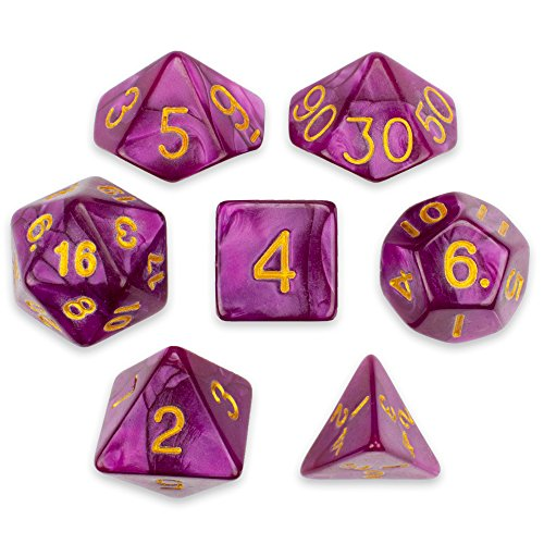 7 Die Polyhedral Dice Set - Abyssal Mist (Hot Pink Pearl) with Velvet Pouch by Wiz ()