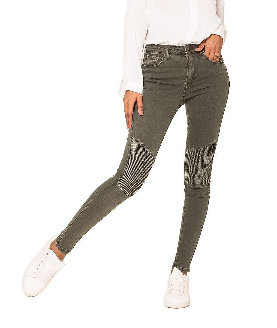 TALLA 34 (XS). Nina Carter Mujer Vaqueros Biker Pitillos Pantalones Jeans Estilo Motociclista Talla 34 a 42