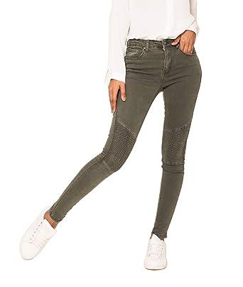 0d3852825a Nina Carter Jean Femme Skinny Denim Kaki Style Motard avec empiècement aux  Genoux Taille 36