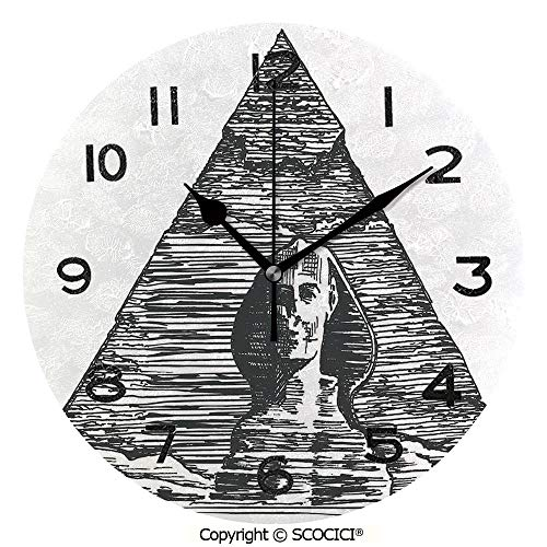 SCOCICI 10 Inch Round Face Silent Wall Clock Sketch Style Art of The Sphinx and The Pyramid Old Ancient Empire Historical Icon Unique Contemporary Home and Office -