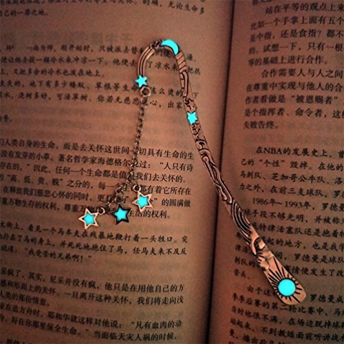 Retro Glow in The Dark Reading Bookmark Long Chain Luminous Book Mark