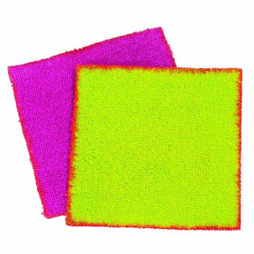 UPC 028484153302, Casabella 2-Pack Terry Scouring Cloths, Green/Orange and Plum/Orange