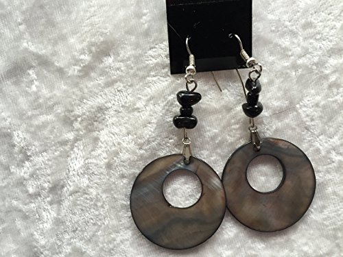 natural black onyx and mother of pearl bold dangle earrings