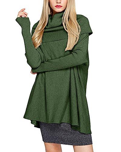 Maglietta Pullover Allentato Maglione Maniche Dolcevita Donna Collo Maglieria Lunghe Green Yonglan Pipistrello Alto OPUqx