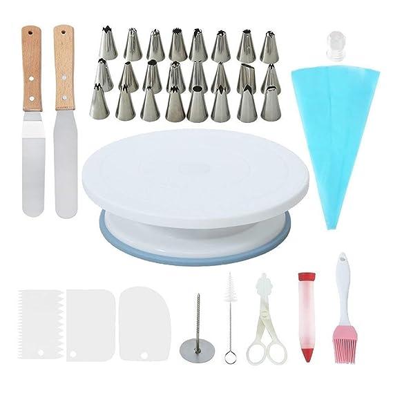 CESHUMD Packung mit 36 Stück Zuckerglasur Werkzeug Kuchen Drehscheibe Kuchen Dekorieren Zubehör Piping Düsen 2 Stück Icing Sp