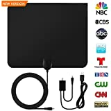 Paper Thin HD Indoor TV Antenna - Support 1080P/4K TV Channel Reception Up to 50 Mile Range, Digital Antenna with Signal Amplifier Booster Receiver, HDTV Ultra Thin Antennas with 10ft Coaxial Cable