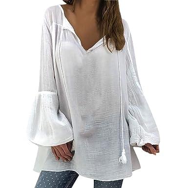 Bianco Maglietta Donna ABCone Camicia Donna Elegante, ABCone