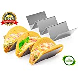 """KABB 2 Pack Stainless Steel Tray, Truck Stand Holds Up to 3 Tacos Each as Plates, Use as a Shell Baking Rack-Safe for Dishwasher, Oven, and Grill, Holders Size 8"""" x 4"""" x 2"""", Silvery"""