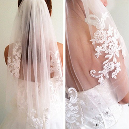 (Kercisbeauty Bridal Lace Embroidery Hollow Out Flower White and Ivory Veil Drop Wedding with Hair Comb Crystal Beads Wide Lace Veil Chapel Veil Single Layer Veil Wedding Hair Accessories (White))