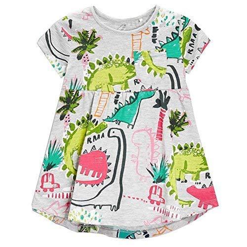 Frogwill Girls Grey Dinosaur Tunic Short Sleeve Summer Casual Dress 3T ()
