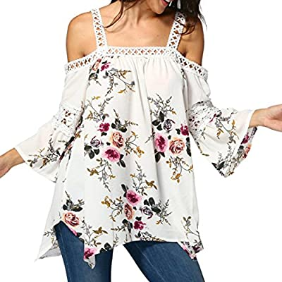 Misaky Women's Off Shoulder Lace Floral Shirt Chiffon Long Tunic Tops Blouse