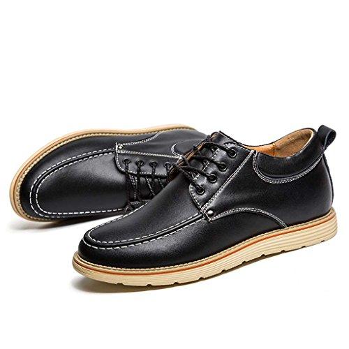ZXCV Zapatos al aire libre Hombres de negocios de vino casual de cuero rojo zapatos de moda antes de la banda con el aumento de los zapatos de los hombres Negro