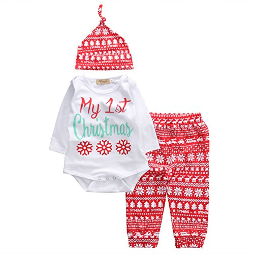 3PCS Babys 1st Christmas Costume Infants Snowflake Bodysuit Romper With Pant Hat Clothing Set (6-12 Months, (Thing 1 Baby Costume)