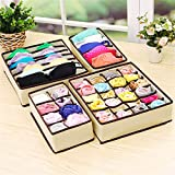 VADOLY 4Pcs Space Saver Nonwoven Clothing Organizer Foldable Container Divider Ties Socks Underwear Classify to Storage