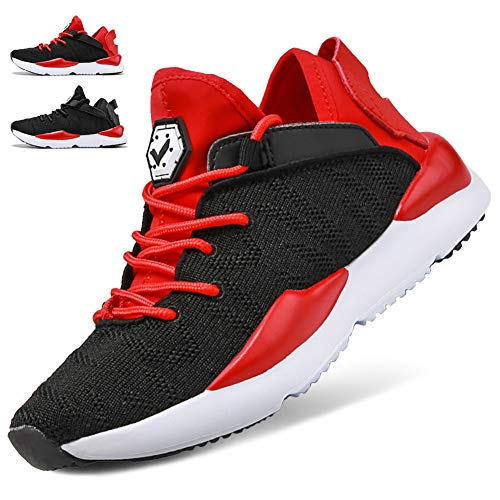WETIKE Girls Sneakers Kids High Top Athletic Gym Shoes Lightweight Comfortable Tennis Shoes Slip on No Laces Trainers Shoes Soft Knit Youth Shoes Big Little Kids Size Red Size 12]()