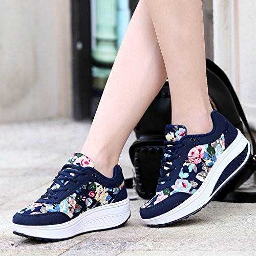 Orlancy Womens Fashion Leather Platform Lace-up Sneakers Walking Shoes Fitness Sports Shoes Dark Blue 7 PVvPF