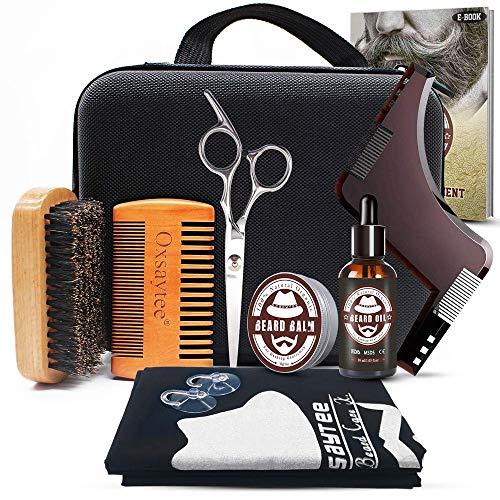 Oxsaytee Beard Grooming Kit, Beard Care Set with Beard Oil, Beard Balm, Beard Brush, Beard Comb, Beard Bib, Beard Shaping Tool, Beard Scissors, Gift for Men/Father