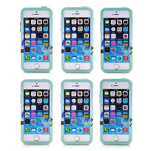 iPhone Case 5C, Lantier Reizende Eulen-Muster-3 in 1, stoßfest hybride Auswirkung Robuste Gummi Combo Heavy Duty Case Schutzhülle für Apple iPhone 5C Mint Green