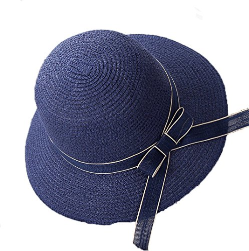 Women's Floppy Wide Brim Summer Sun Hat Foldable Beach Straw Cap 56-58cm (Blue) free shipping