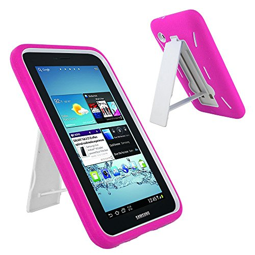 Galaxy Tab 2 7 Case KIQ (TM) Heavy Duty Hybrid Silicone Skin Hard Plastic Case Cover Kick Stand for Samsung Galaxy Tab 2 7.0 P3100 - White / Hot Pink