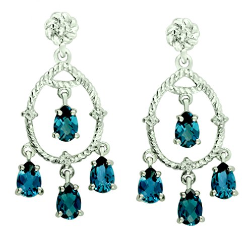Sterling Silver 925 STATEMENT Earrings GENUINE LONDON BLUE TOPAZ 4.37 Cts with RHODIUM-PLATED Finish DANGLING Style (Blue Topaz Rope Earrings)