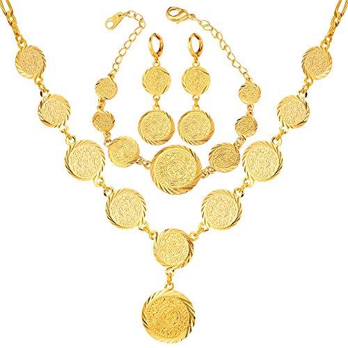 U7 Women 18K Gold Plated Muslim Symbol Coin Beaded Necklace Bracelet Earrings Set