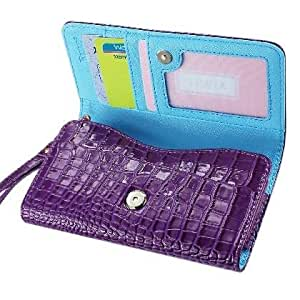 High Quality Leather Wallet Flip Carrying Case Pouch for Sony Xperia Z2 - with Card Holder and Removable Strap - Crocodile Pattern - Magnetic Clasp for Easy Phone Access - (Purple Plus Interior Light Blue) + Mini Touch Screen Stylus