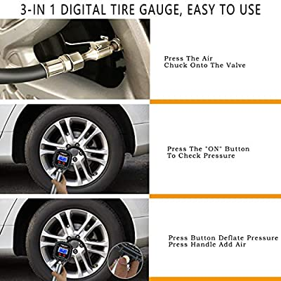 TiGaAT Digital Tire Pressure Gauge Inflator, Accurate 200 PSI Air Chuck and Compressor Accessories for Car Bike Rv Truck Automobile and Motorcycle (Blue): Automotive