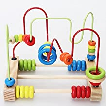 Montessori Baby Toys Classic Large Wire Beads Maze Wooden Toys Around The Mirror Child Gift Early Learning Skills From Funny Game