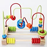 Montessori Wooden Bead Roller Coaster Beads Wire Assembly Toys Best Game For Toddlers Kids,Classic Large Wire Beads Maze Portable Activity Center Toddlers Educational Toys For Developing Intelligence