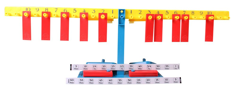 ETA hand2mind Large Student Number Balance Beam with Weights, Calibration Clips, Value Strips (Set of 15)